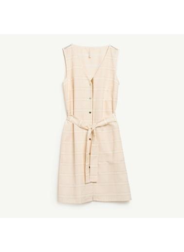 Yargıcı Kadın V Yaka Kuşak Detaylı Elbise 0YKEL7142A Bronz